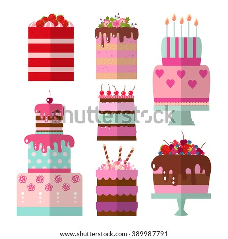 Vector Color Flat Background Cake Set Stock Vector 379878142