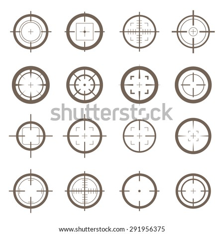 Collection of vector flat simple targets isolated on white background. Different crosshair icons. Aims templates. Shooting marks and cross hairs design.