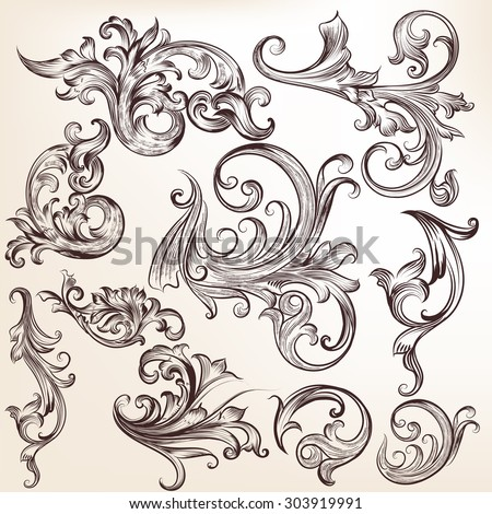 Collection of vector flourishes and swirls - stock vector