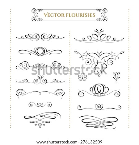 Collection of vector flourishes. High quality design elements. - stock vector