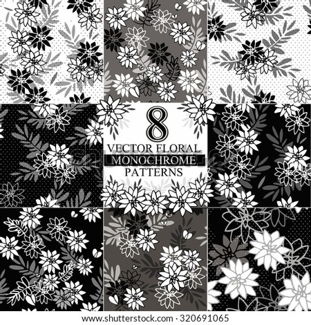 Collection of 8 vector flower seamless pattern. Monochrome, Black and white backgrounds. - stock vector