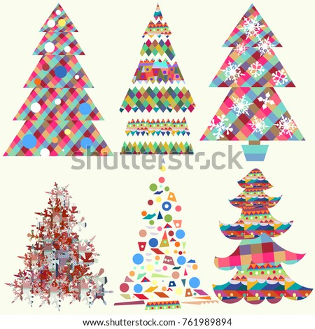 Collection Vector Funky Christmas Trees Design Stock Vector ...