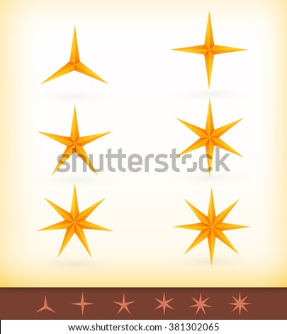 Collection of vector golden stars with 3, 4, 5, 6, 7 and 8 pointed edges - stock vector