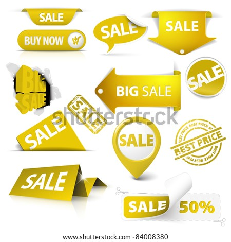 Collection of vector golden yellow sale tickets, labels, stamps, stickers, corners, tags on white background - stock vector
