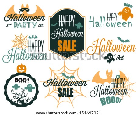 Collection of Vector Graphics and Badges for Halloween - stock vector