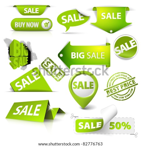 Collection of vector green sale tickets, labels, stamps, stickers, corners, tags on white background - stock vector