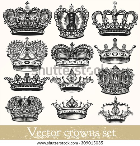 Collection of vector hand drawn crowns in vintage style - stock vector