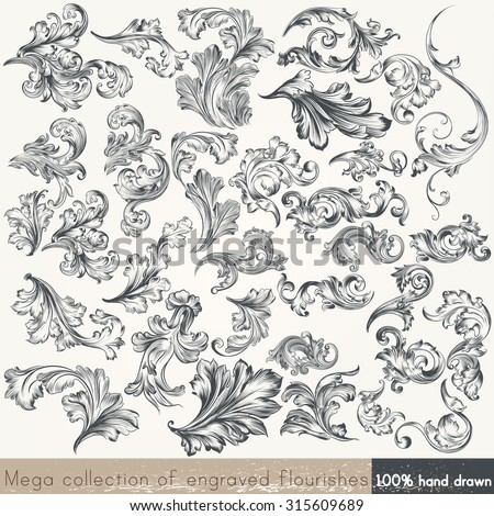 Collection of vector hand drawn flourishes in engraved style. Mega set - stock vector