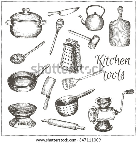 Collection of  vector hand drawn kitchen tools. - stock vector