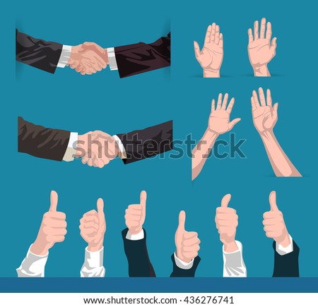 collection of vector hands shaking, holding up and liking, agreeing, according permission - stock vector