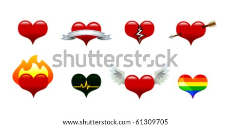 Collection of vector heart icons: basic heart, banner heart, broken heart, arrow heart, flaming heart, EKG heart, winged heart, gay pride heart. - stock vector