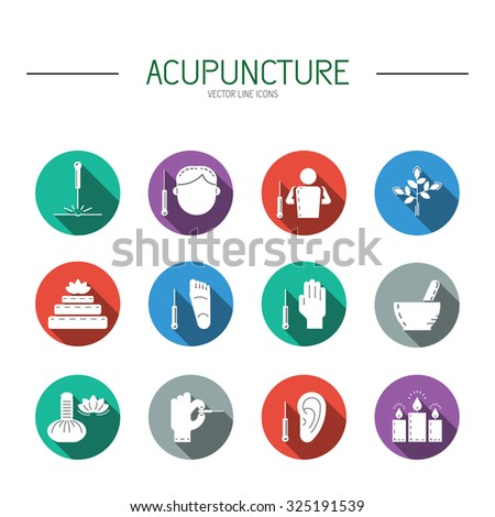Collection of vector icons dedicated to traditional Chinese medicine, acupuncture. a method of stimulation of certain points on the body with needles. Alternative medicine