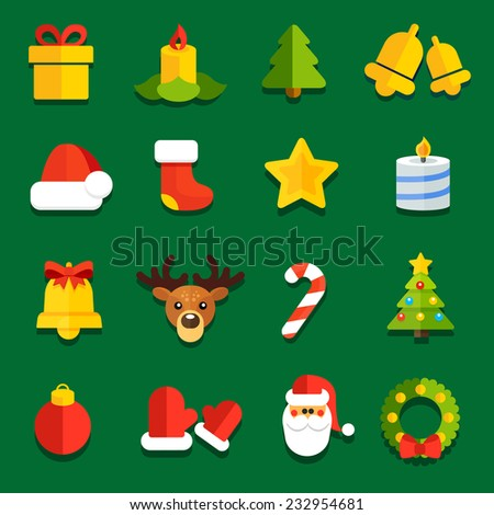 Collection of vector icons for flat Christmas decoration festive sites - stock vector