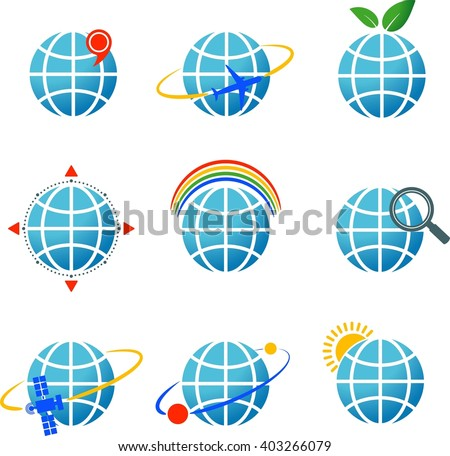 Collection of 9 vector icons with globe. eps 10