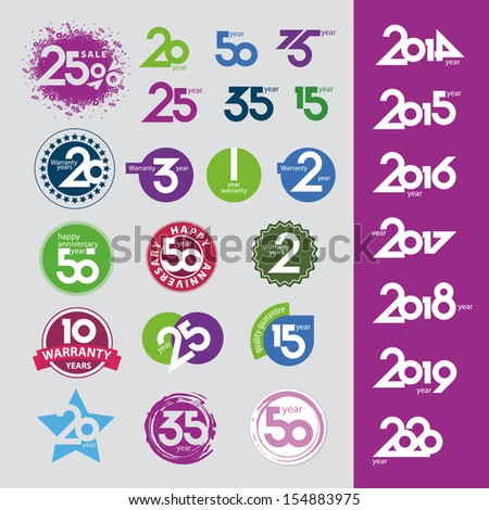 collection of vector icons with numbers dates anniversaries - stock vector