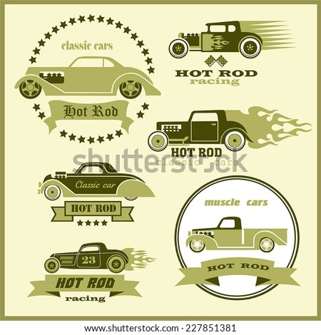 Collection of vector images of cars 6 retro yellow-green flowers with ribbon, stars and the inscription on a light background  - stock vector