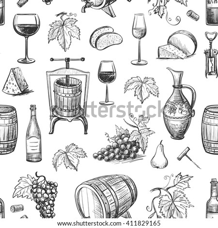 Collection of vector images of wine and wine making . Isolated objects on a white background. Seamless pattern - stock vector