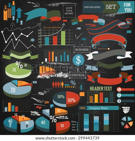 Collection of vector infographic elements, ribbons and diagrams - stock vector
