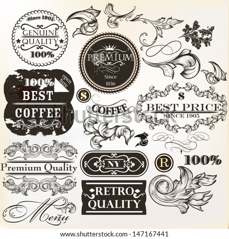 Collection of vector labels in retro style premium quality  for design