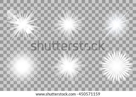 Collection of vector lights effects on transparent background. Flashes for your design and ideas.. - stock vector