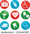 collection of vector medicine icons and elements - stock photo