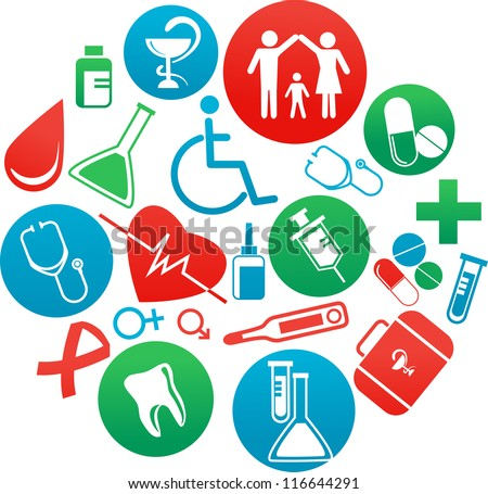 collection of vector medicine icons and elements - stock vector