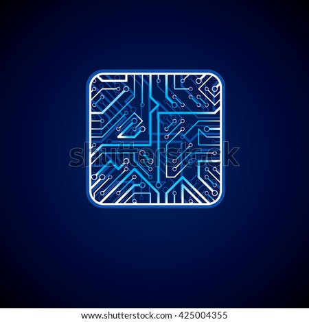 Collection of vector microchip design, cpu. Information communication technology element with sparkles, neon luminescent circuit board in the shape of square. - stock vector
