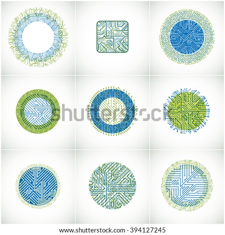 Collection of vector microchip designs, cpu. Information communication technology elements with multidirectional arrows, circuit boards in the shape of square and circle. - stock vector
