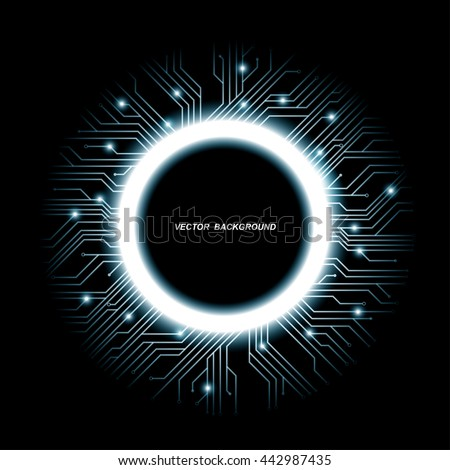 Collection of vector microchip designs, CPU. Information communication technology elements with sparkles, blue luminescent circuit boards in the shape of circle. - stock vector