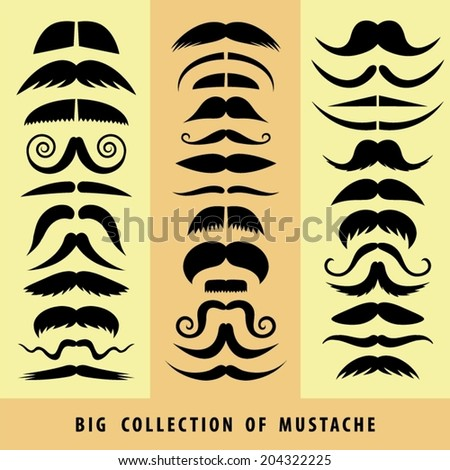 Collection of vector mustache. - stock vector