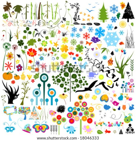 collection of vector nature elements - stock vector