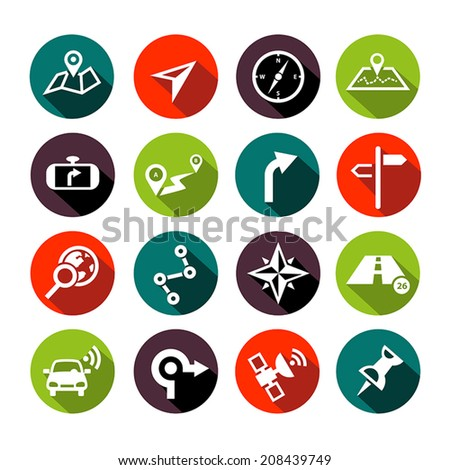 Collection of vector navigation icons - maps, location, GPS in flat design style - stock vector