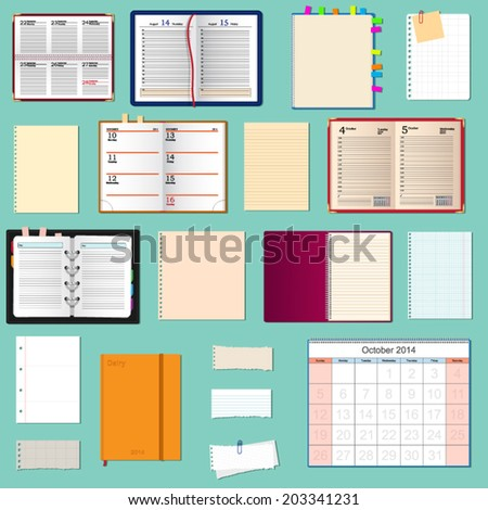 collection of vector notebooks  - stock vector