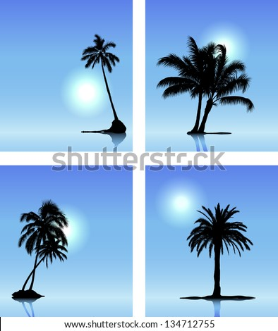 Collection of vector palm tree silhouettes on blue sky background - stock vector