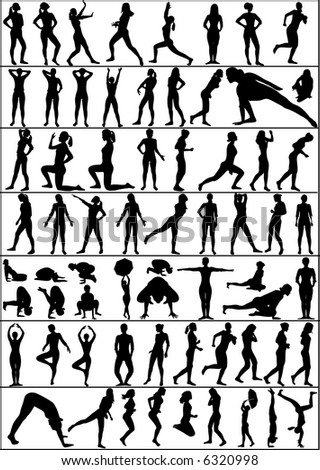 collection of vector people silhouettes - active woman - stock vector