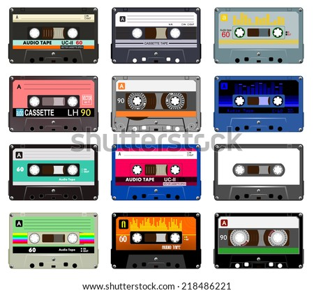 Collection of vector retro audio cassettes. Set of different colorful music tapes. Isolated on white background. Vector art image illustration eps10  - stock vector