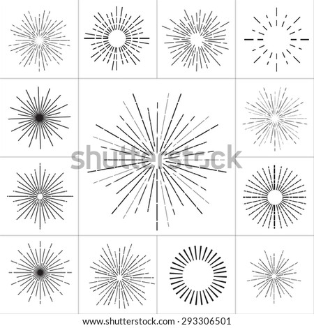 Collection of vector retro sun bursts. Vector illustration - stock vector