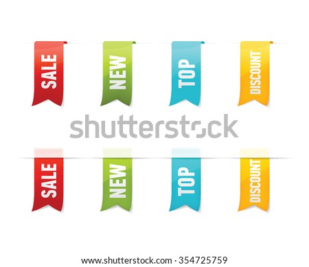 Collection of vector sale labels, stickers, shopping tags on white background.