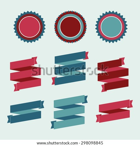 Collection of vector seal, banner and ribbon design elements.