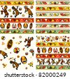 Collection of vector seamless background with african traditional patterns - stock vector