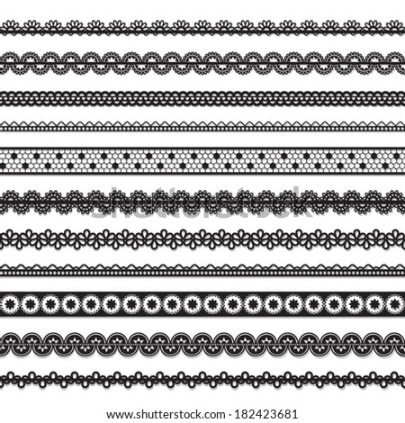 collection of vector seamless lace - stock vector