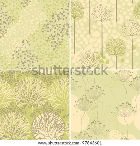 collection of vector seamless textures, trees and natural motifs - stock vector