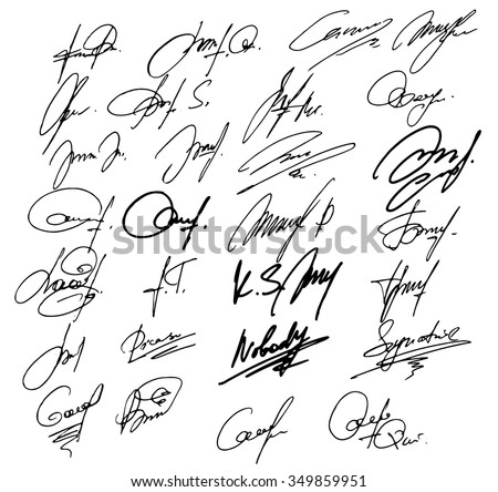 Collection of vector signatures fictitious Autograph. Signs isolated. Document hand drawn signature set. Vector illustration. Signature document  - stock vector