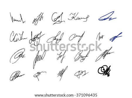 Collection of vector signatures fictitious Autograph. Vector illustration.