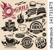 Collection of vector signs, symbols and icons. Set of grill design elements. Grill badges stickers and labels food set. - stock vector