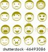 Collection of vector smilies with different expressions - stock
