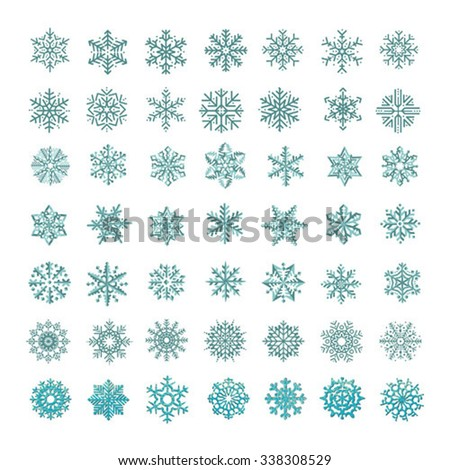 collection of vector snowflakes, blue snowflakes, blue snowflakes on a white background - stock vector