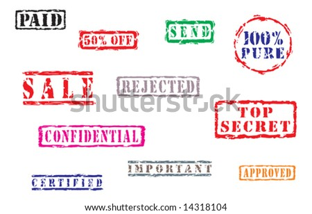Collection of vector stamps with text. Vector illustration - stock vector