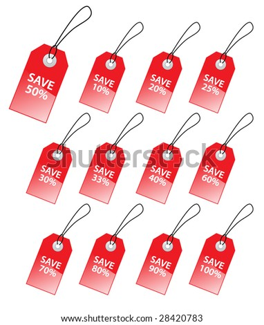 Collection of vector tags with discount numbers for marketing sales.