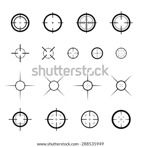 Collection of vector targets. Different crosshair icons. Aims templates. Shooting marks design. - stock vector